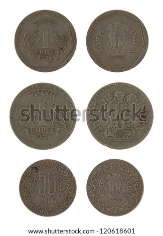 Indian rupee coins isolated on white - stock photo