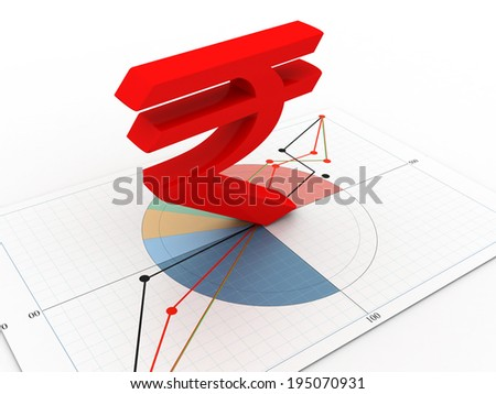 Indian rupee sign on business chart - stock photo