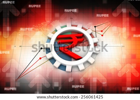 Indian rupee symbol with gear on business chart - stock photo