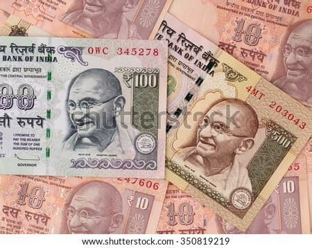 Indian rupees banknotes background, India money closeup - stock photo