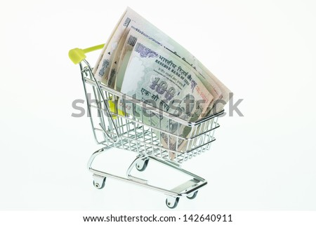 Indian rupees in shopping cart over white background - stock photo