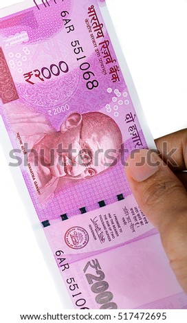 Indian rupees of 2000 denomination ( two thousand denomination)