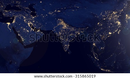 Indian Space View (Elements of this image furnished by NASA)