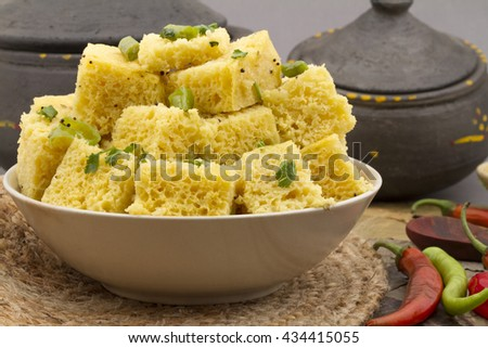 Indian special traditional street food Khaman Dhokala