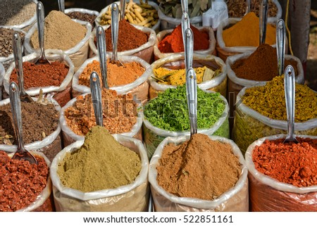 Indian spice market in Goa