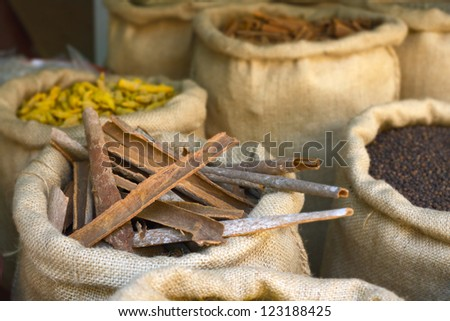 Indian spices at the market - stock photo