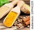 Indian spices - curcuma and ginger powder - stock photo