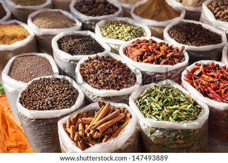 Indian spices in Anjuna flea market, Goa, India - stock photo