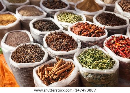 Indian spices in Anjuna flea market, Goa, India - stock photo