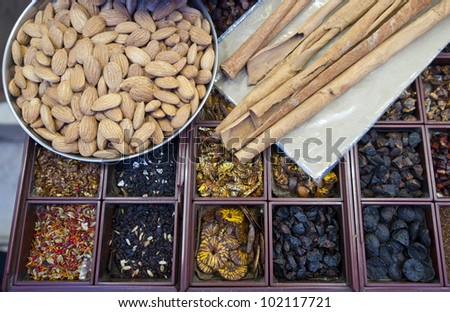Indian spices on display in a spice shop - stock photo