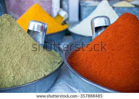 Indian spices on the market - stock photo