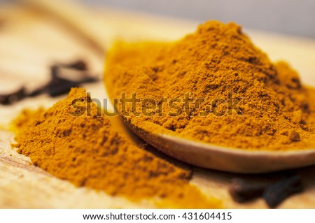 Indian spices on the wooden spoon