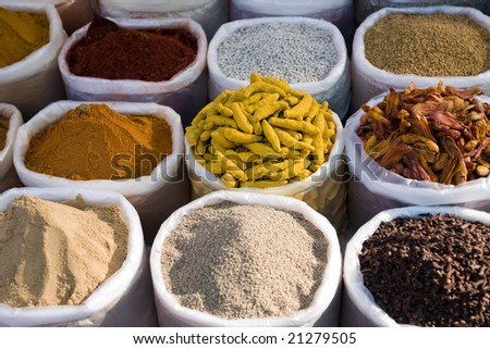 Indian spices used in cooking food in India - stock photo
