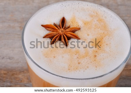 Indian spicy chai tea latte