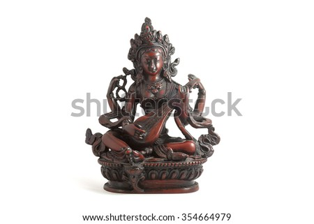 Indian statue isolated on white - stock photo