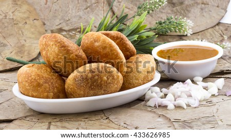 indian street food fried Kachori - stock photo