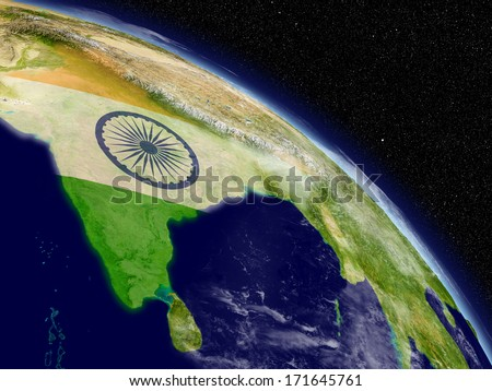 Indian subcontinent with indian national flag on planet Earth viewed from space. Highly detailed planet surface and clouds. Elements of this image furnished by NASA. - stock photo