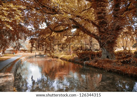 Indian summer in Lower Slaughter - Cotswold, United Kingdom. - stock photo