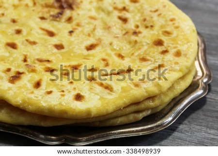 Indian Sweet Roti With Lentil Stuffing Known As Puran Poli Selective Focus