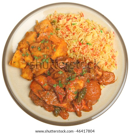 Indian takeaway curry meal - stock photo