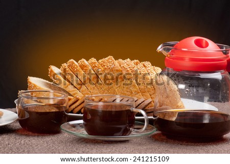 Indian Tea set and bread - stock photo