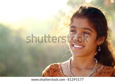 Indian teen beautiful teen girl - stock photo