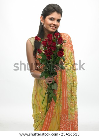Indian teenage girl with red roses