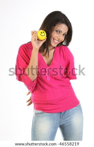 Indian teenage girl with smile ball - stock photo