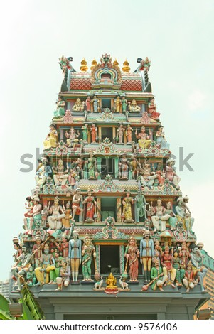 Indian temple entrance with a collection of hindu gods and deities