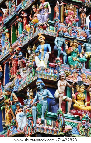 Indian temple in Singapore - stock photo