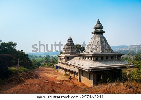 Indian temple in the mountains - stock photo