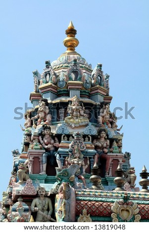 Indian temple roof top sculpture