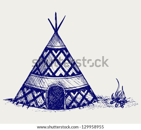 Indian tepee. Doodle style. Raster version - stock photo