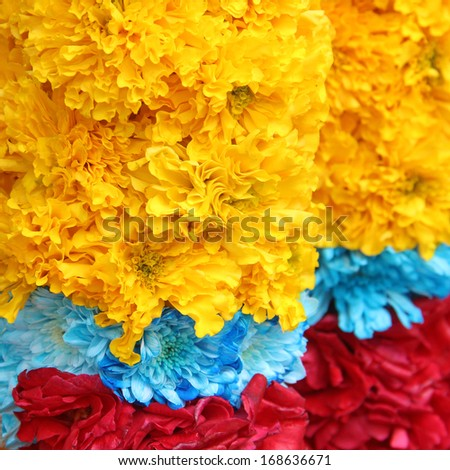 Indian traditional culture colorful garland - stock photo