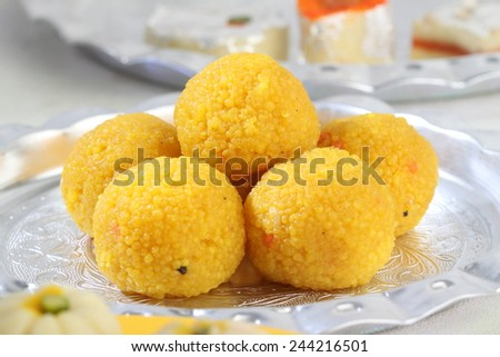 Indian Traditional Diwali sweets called Motichoor Ladoo - stock photo