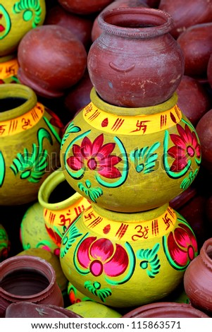 indian traditional vase - stock photo