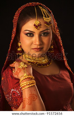 Indian Traditional Wedding Beautiful bride red dress - stock photo