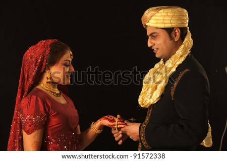 Indian Traditional Wedding  Bride and groom - stock photo