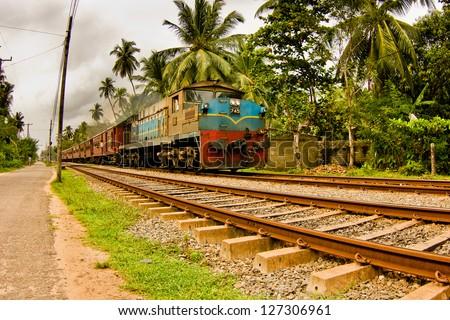 Indian train on a railway - stock photo