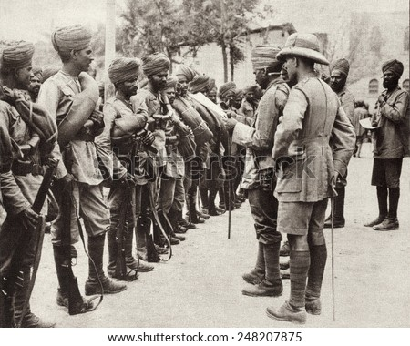 Indian troops replacing 10,000 British troops captured by the Turks in Iraq. 1916. The British forces were surrounded by the Turks in the Battle of Kut-al-Amara in April 1916. - stock photo
