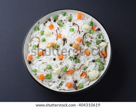 indian veg biryani, veg pulav, Indian vegetable pulav, Biriyani, vegetable Biriyani - stock photo