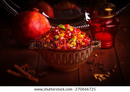 Indian Vegetarian Biryani with spices in traditional style - stock photo
