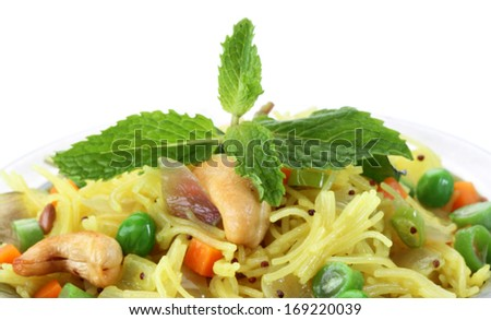 indian Vegetarian food called semiya upma  - stock photo