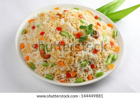 Indian vegitable pulav,Biriyani. - stock photo
