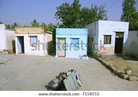 indian village in hampi, india - stock photo
