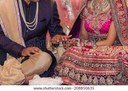 indian wedding ceremony, rings exchange - stock photo