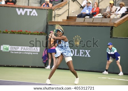 INDIAN WELLS, CA - MARCH 12: Venus Williams plays in round 2 of the Women's singles tournament  at the BNP Paribas Open on March 11, 2016 in Indian Wells, California.
