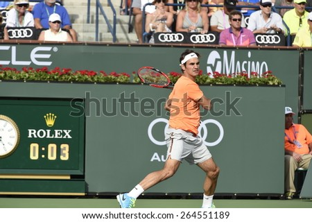 INDIAN WELLS - MARCH 14: Roger Federer plays in Round 2 of the BNP Paribas Open in Indian Wells on March 14, 2015.