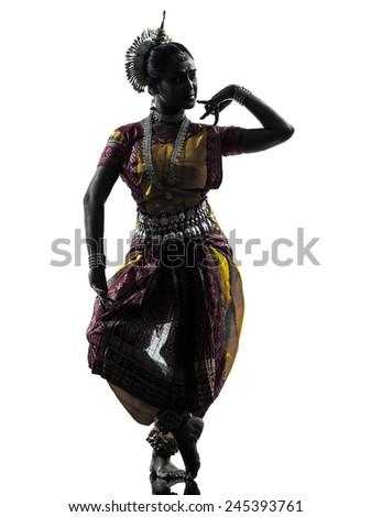 indian woman dancer dancing  silhouette - stock photo