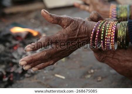 Indian woman hands gesture - stock photo